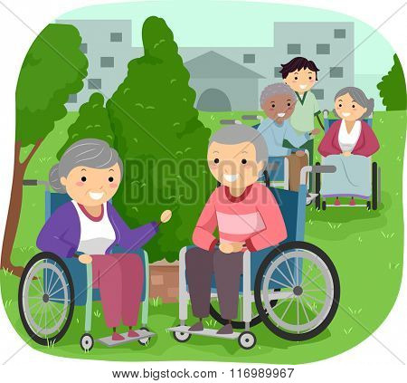 Illustration of Senior Citizens outside their room with a Caregiver