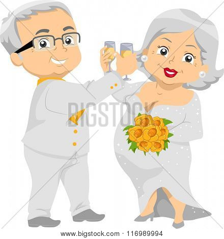 Illustration of a Happily Married Senior Citizen Couple Enjoying their Wedding Champagne