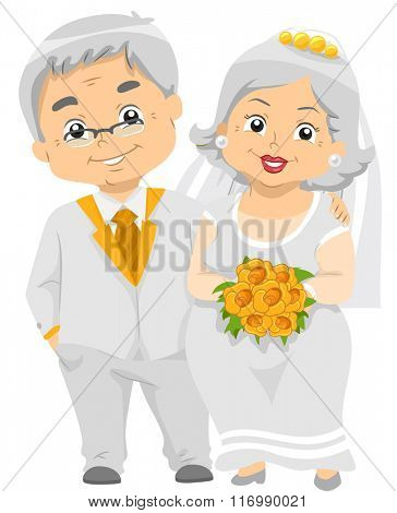 Illustration of a Happily Married Senior Citizen Couple with their Golden Wedding Bouquet