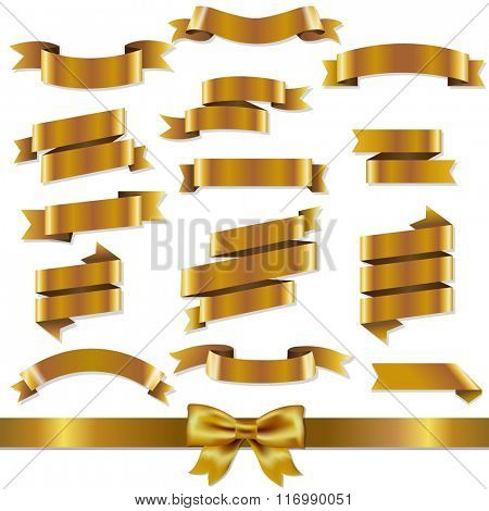 Golden Ribbons Set With Gradient Mesh, Vector Illustration