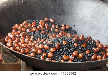 Roasting Chestnuts In A Pan