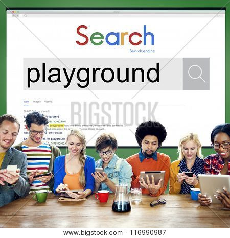Playground Playing Children Childhood Child Fun Concept