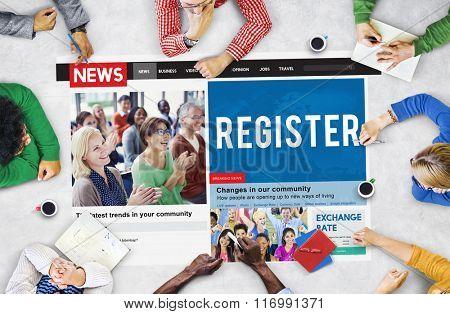 Register Registry Membership Application Apply Concept