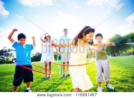 Family Bonding Park Relaxing Exercise Concept
