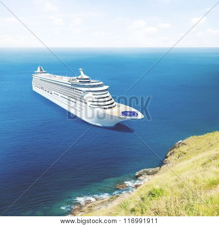 Cruise Ship Nautical Vessel Aquatic Vacation Summer Concept