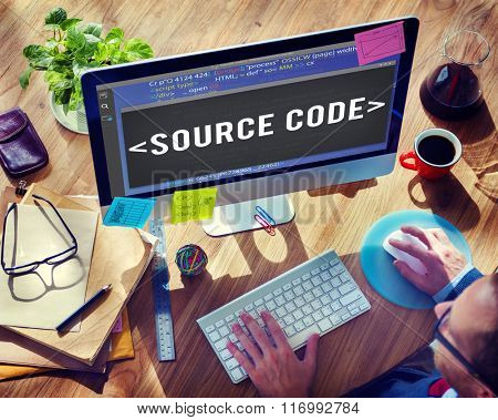 Source Code Data Javascript Computer Language Concept