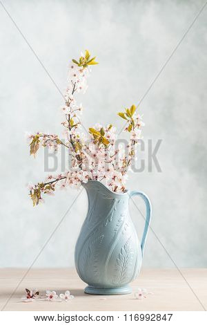 Spring cherry blossom in antique vase
