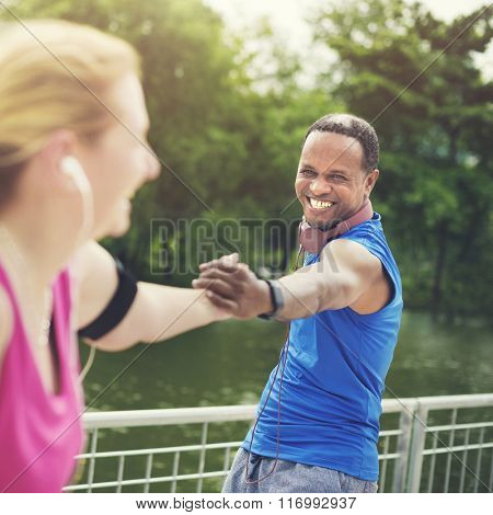 Couple Exercise Playlist Happiness Wealth Health Concept