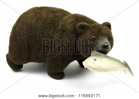 Big Brown Bear With Fish In A Mouth Isolated On A White Background
