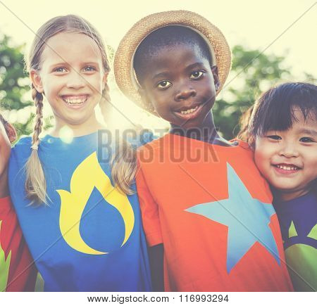 Children Friendship Bonding Outdoors Cheerful Concept