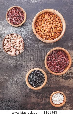 Dried  beans  in  a wooden bowls
