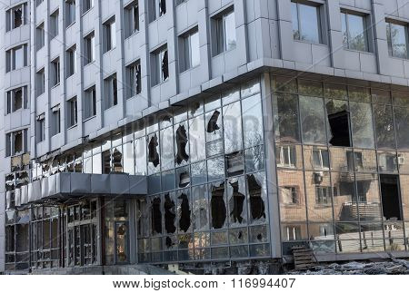 Broken Windows Of Weapons Falling Into The Donetsk