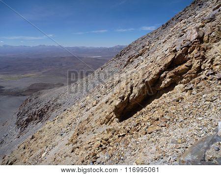 Slopes Around Volcano Isluga At Chilean Altiplano