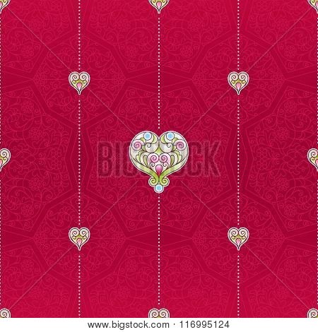 Vector Red Seamless Pattern With Hearts.