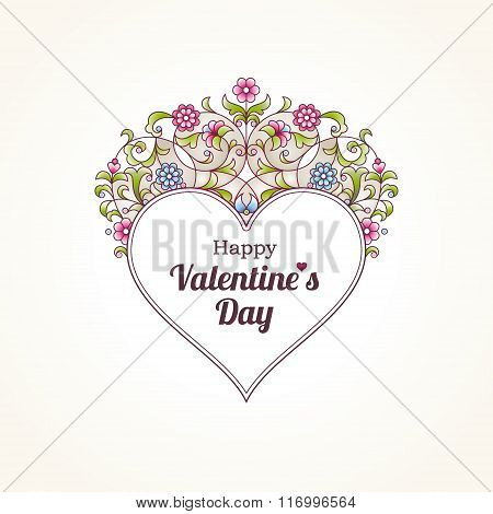 Ornate Vector Heart. Happy Valentine's Day Illustration.