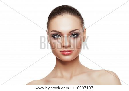 Girl With Perfect Make Up On White Background