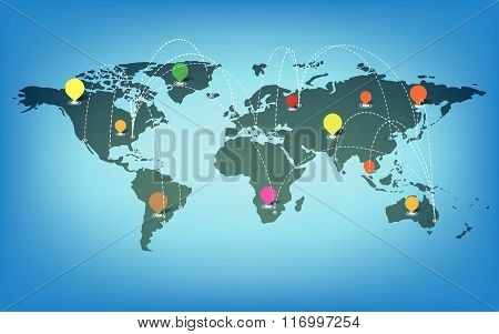 World Map With Icons And Blue Background Vector