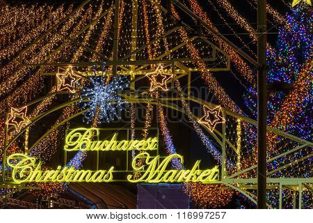 Decorative Christmas Lights In Bucharest. Numerous Christmas Lights On Bucharest Christmas Market In