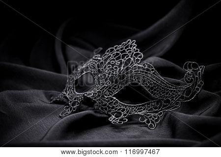 Black Crochet Carnival Mask