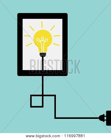 Idea lamp with tablet and electric plug on light blue background.