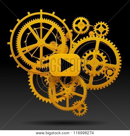 Yellow gear wheels of clockwork with move arrow on black background. Techno background. Contain the Clipping Path