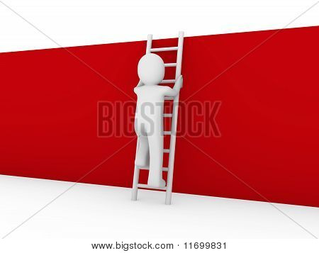 3D Human Ladder Wall Red