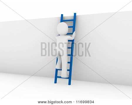 3D Human Ladder Blue