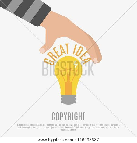 Copyright compliance design concept with  bright light bulb,  human hand and great idea text vector illustration