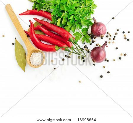 Parsley, Garlic Clove, Onion,red Pepper And Spices On White Background