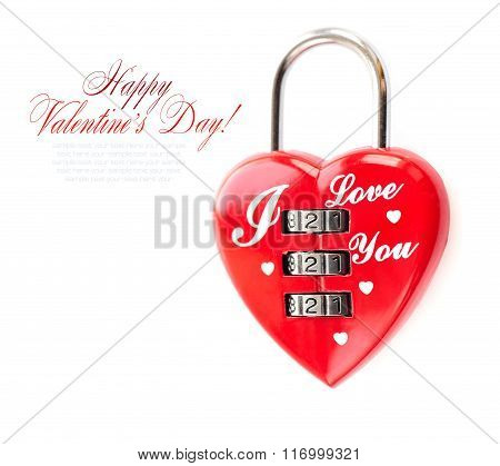 Padlock Heart-shape On White Background