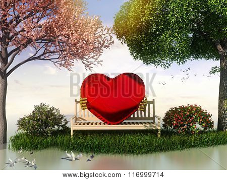 3D Valentin  view for love and romance with heart shape