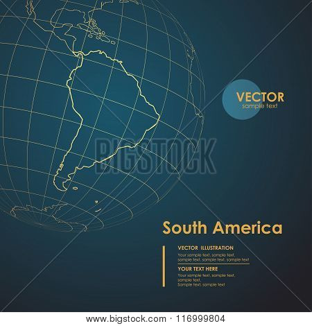 Illustration Earth map of South America. Modern business line ve