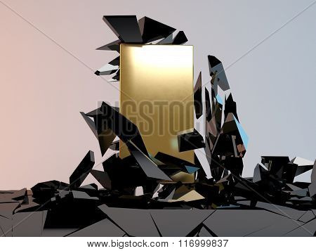 Abstract Illustration of Solid golden Block Breaking Through
