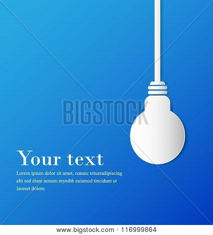 Hanging bulb with space on blue background, paper cut design.