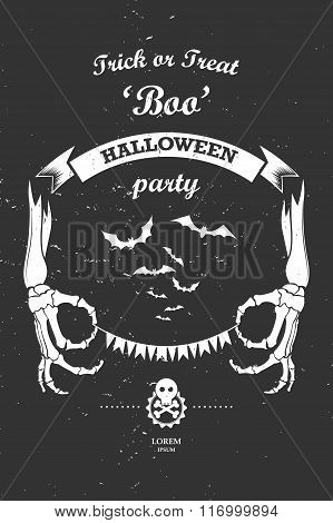 Vector vintage retro grunge label design elements halloween part
