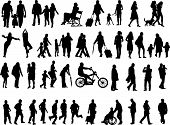 image of person silhouette  - Another over fifty people black silhouettes on white background - JPG