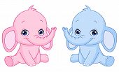 image of twin baby girls  - Vector illustration of pink and blue Baby elephants - JPG