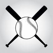 Постер, плакат: Crossed Baseball Bats And Ball