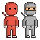 Постер, плакат: Vector Pixel Art Red And Black Ninja