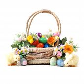 picture of baby easter  - An easter basket full of eggs for the seasonal holiday - JPG