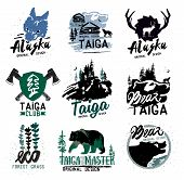 Taiga logo sign. Forest logotype. Bear taiga emblems. Vintage Camping logo. poster