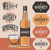 Постер, плакат: Retro Collection Of Whiskey Bottle glass Of Whiskey With Ice And Whiskey Labels