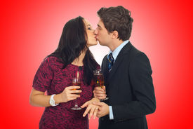 stock photo of hand kiss  - Kissing couple on Valentine - JPG