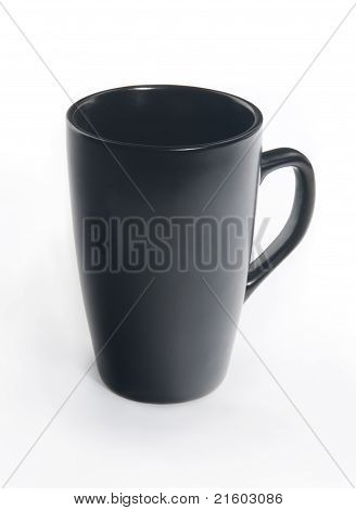 Black ceramic cup with handle isolated on white background