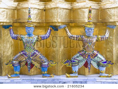 Mythological Figure Of The Indian Epic Ramayana, Guarding The Buddhist Temple In The Grand Palace