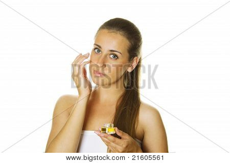 Beautiful Girl Holding Cream