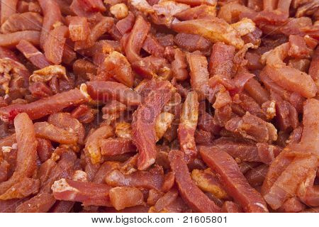 Raw, Marinated Meat Strips