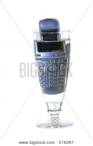 Cell Phone In Glass Of Water