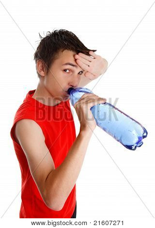 Sweaty Boy Drinking Bottled Water
