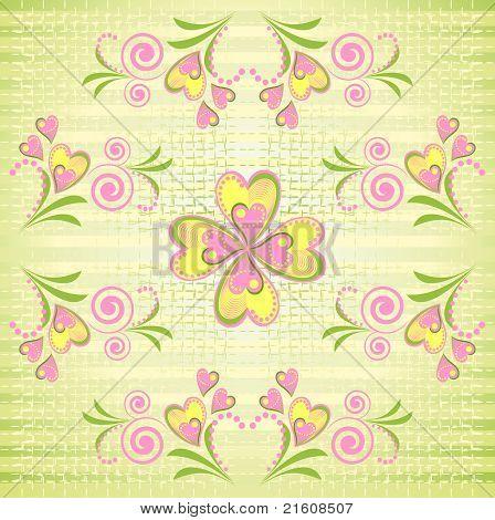 Flower heart stripe seamless pattern